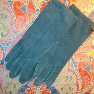 Coach Cashmere Lined Navy Suede Gloves 8